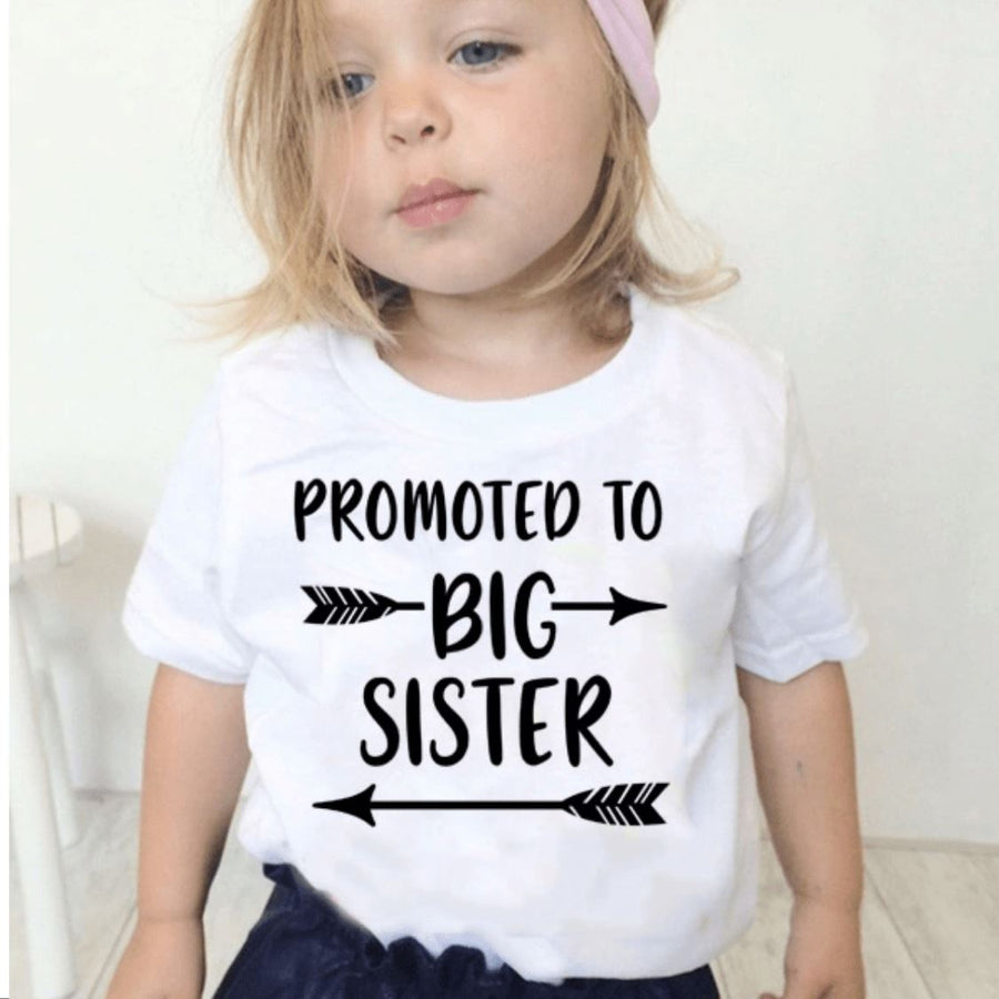 Promoted to Big Sister T-shirt Short Sleeve Shirts Tiny Trendsetter 12-24 Months