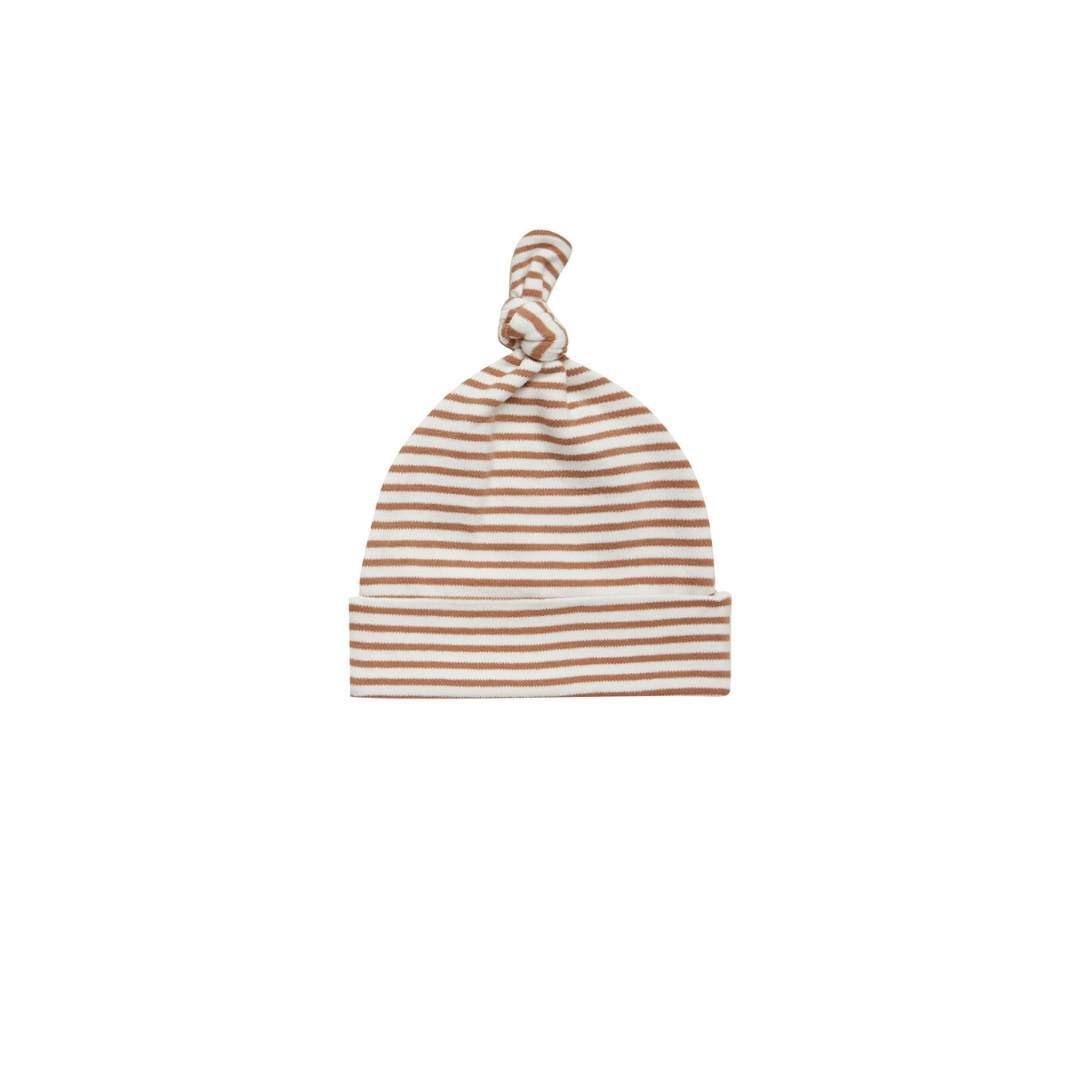 QM004BE - Quincy Mae Rust Stripe Knotted Baby Hat hat Quincy Mae