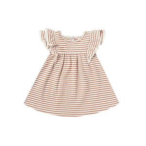 QM020E - Quincy Mae Rust Stripe Flutter Dress Dress Quincy Mae