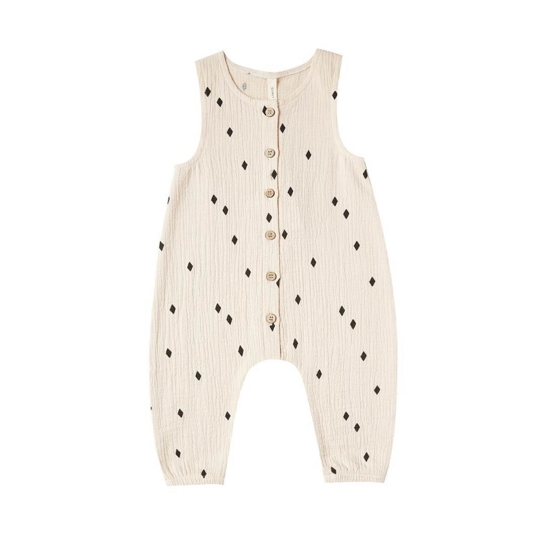 QM047C - Quincy Mae Natural Woven Snap Jumpsuit Jumpsuits / Rompers Quincy Mae