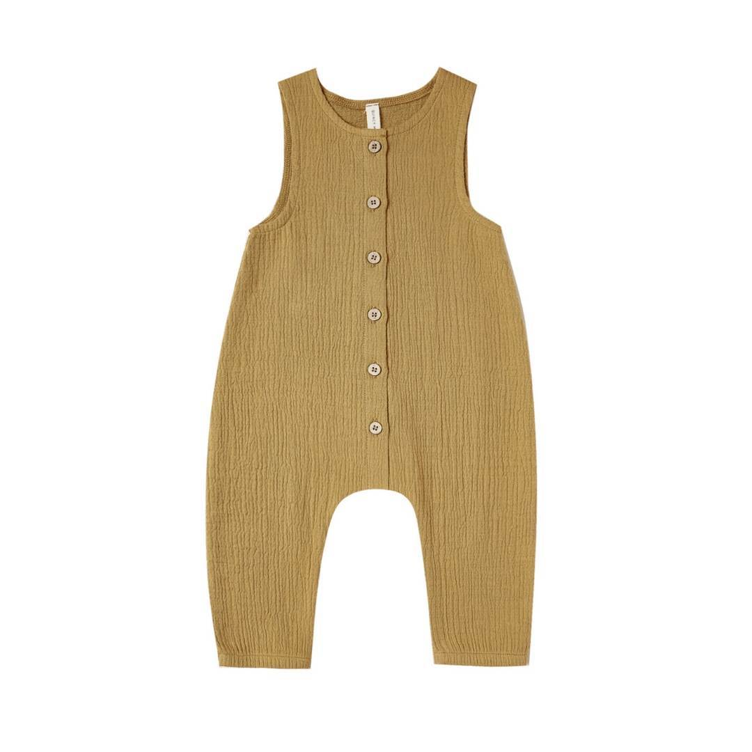 QM047D - Quincy Mae Ocre Woven Snap Jumpsuit Jumpsuits / Rompers Quincy Mae
