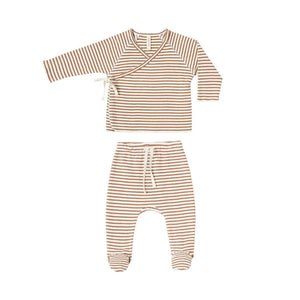 QM201E - Quincy Mae Rust Stripe Kimono Top + Footed Pant Set Outfit Quincy Mae