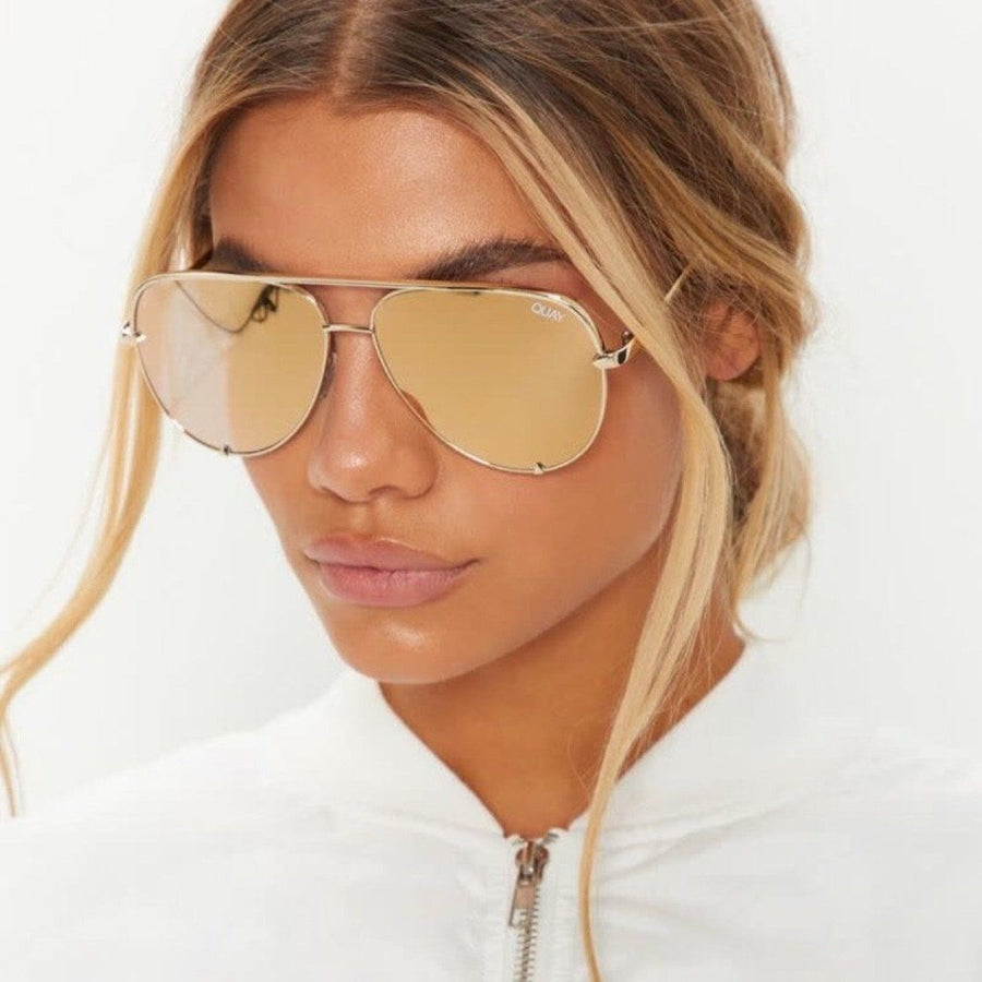 Quay - High Key Sunglasses - Gold/Gold Sunglasses Quay