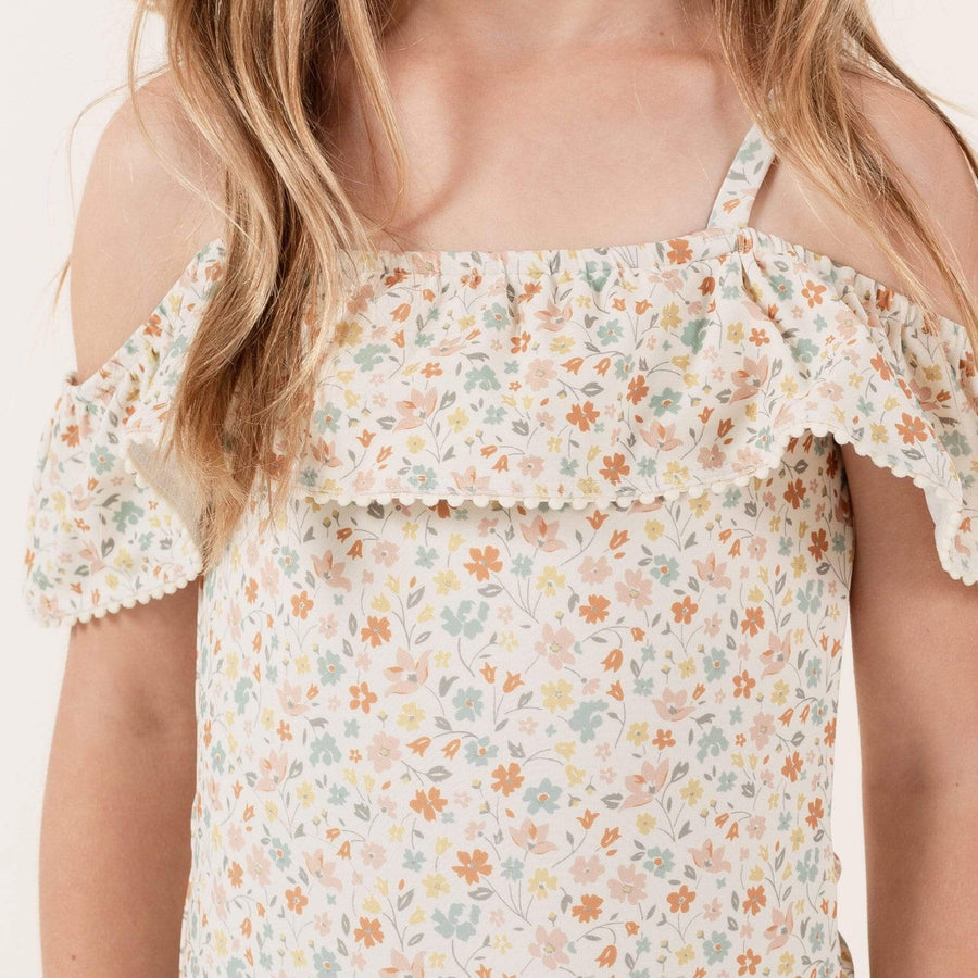 RC089D Rylee & Cru Flower Field Off the Shoulder One Piece Swimsuit - Natural Swimwear Rylee & Cru