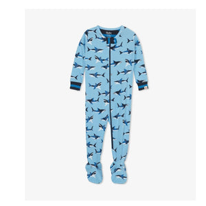 S20CAI202 Hatley - Great White Sharks Organic Cotton Footed Coverall Pajamas Hatley
