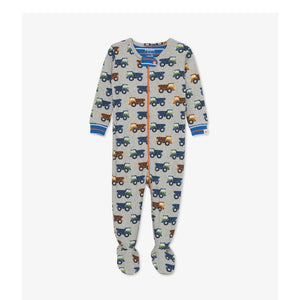 S20DTI202 Hatley - Dump Trucks Organic Cotton Footed Coverall Pajamas Hatley