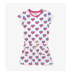 S20HSK1403 - Hatley Rainbow Hearts Front Pocket Drop Waist Dress Dress Hatley
