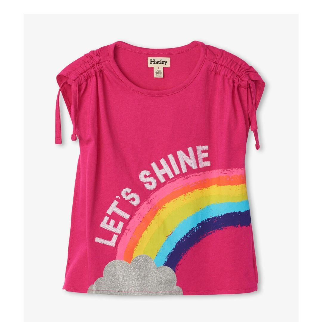 S20PYK1426 Hatley - Rainbow Shine Cinched Shoulder Tee Short Sleeve Shirts Hatley