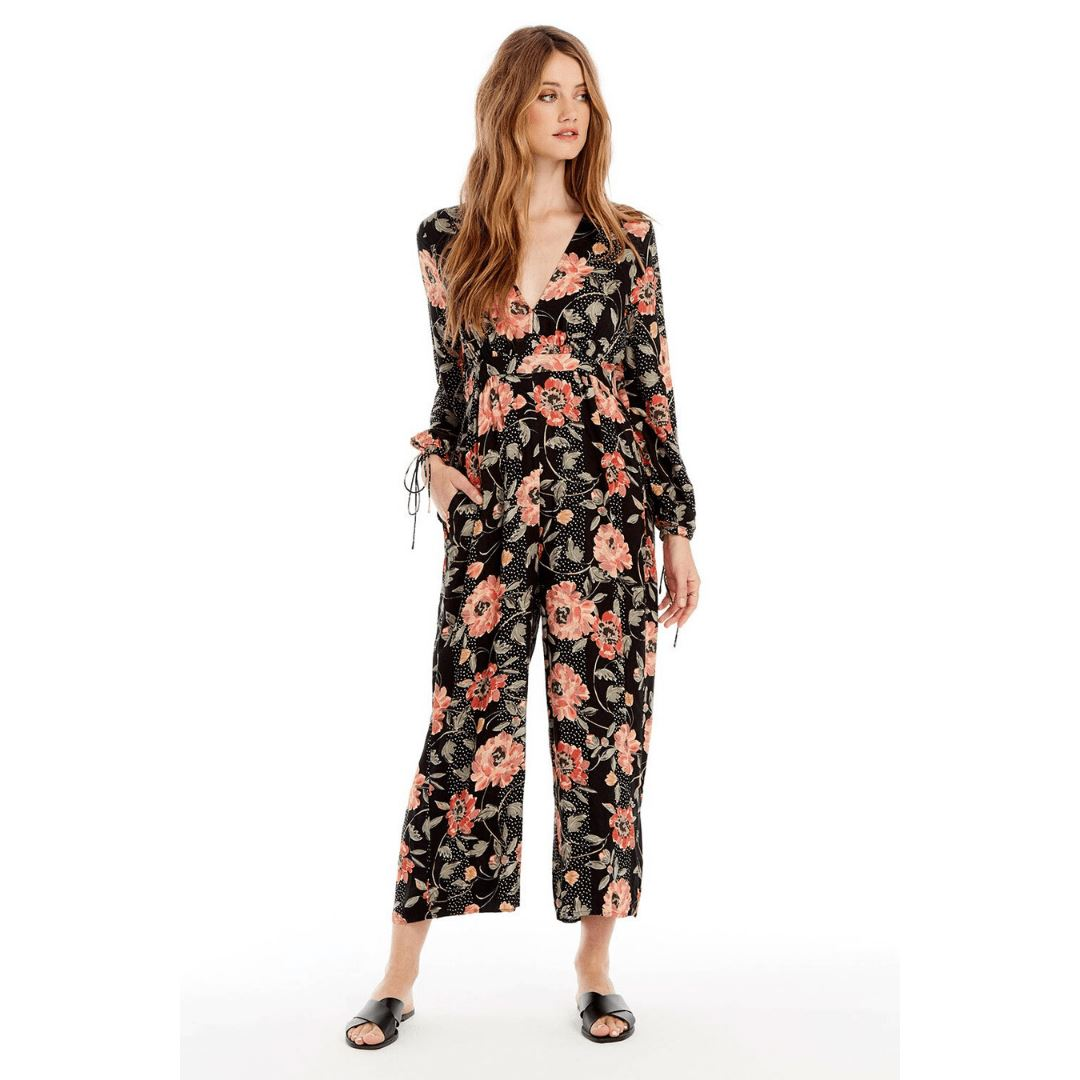 Saltwater LUXE - Women's Honest Jumper - Floral Dot in Black Jumpsuits / Rompers Saltwater LUXE XS Floral Dot Black