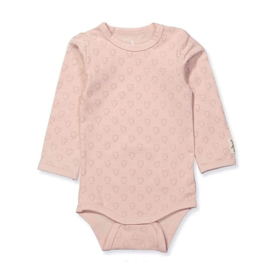 Small Rags - Pink & Gold Foil Heart Onesie Onesie Small Rags
