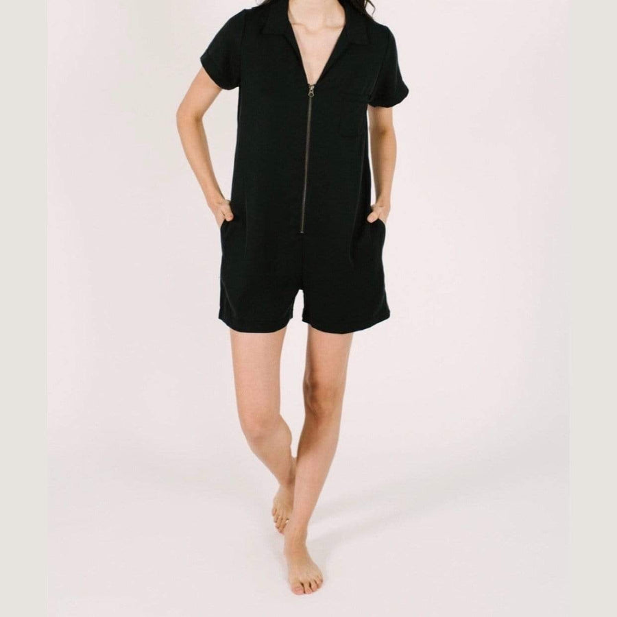 Smash + Tess- The Shorty Coveralls in Barely Black Jumpsuits / Rompers Smash+Tess