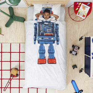 "SNURK - Robot Duvet Cover Set Bedding SNURK Living Twin 68"" x 86"" incl. one standard pillow case"