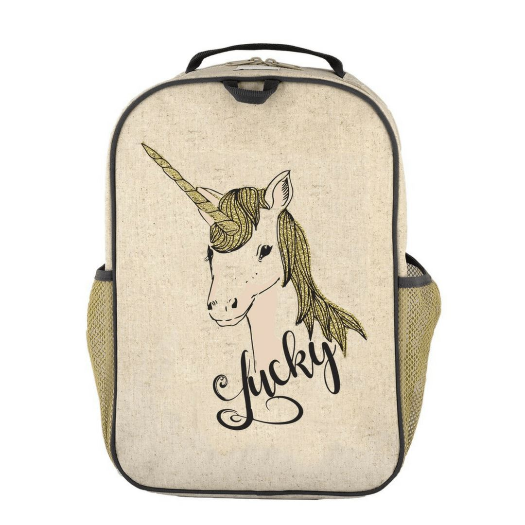 SoYoung - Raw Linen Lucky Unicorn Grade School Backpack Backpack SoYoung