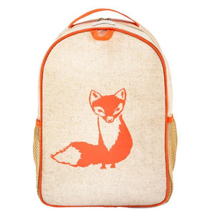 SoYoung - Raw Linen Orange Fox Grade School Backpack Backpack SoYoung