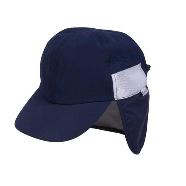 Swim Zip - Navy Baby and Kids Hat with Neck Flap (0-8 Years) Hats Swim Zip