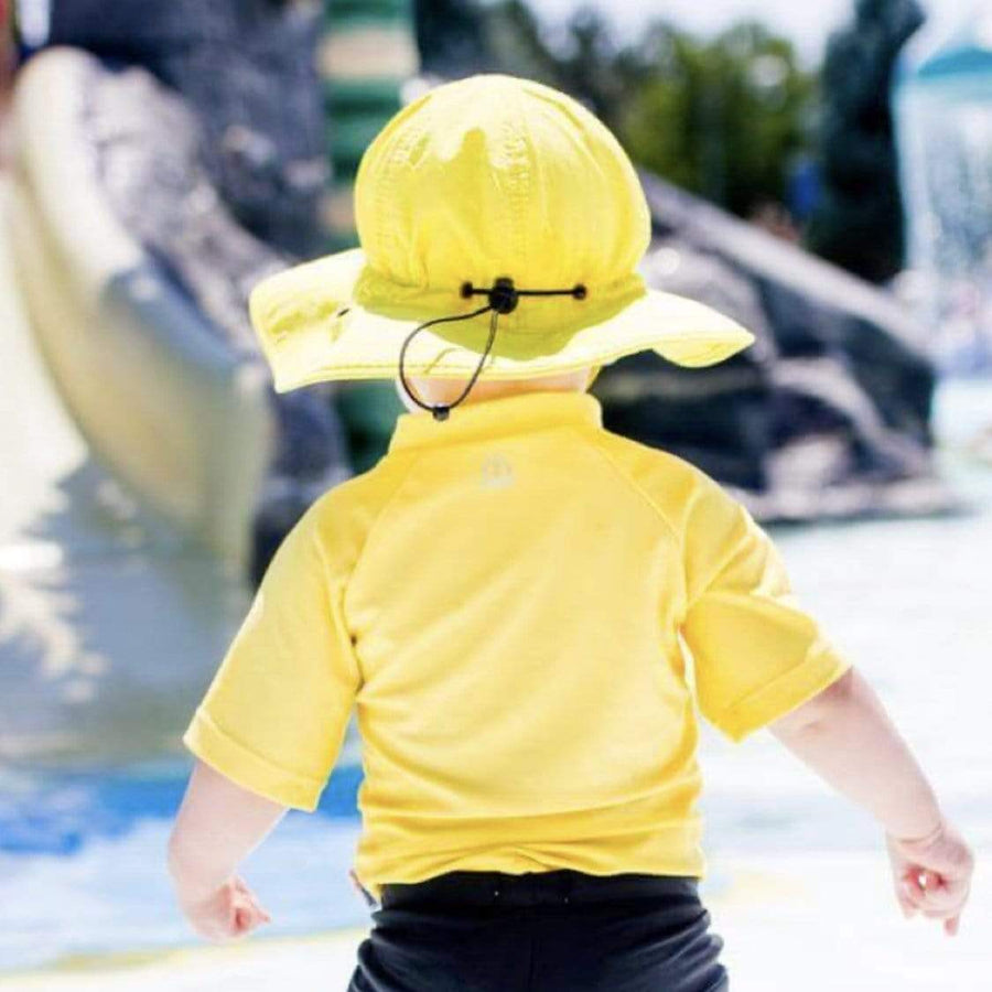 Swim Zip - Yellow Wide Brim Baby Hat Hats Swim Zip