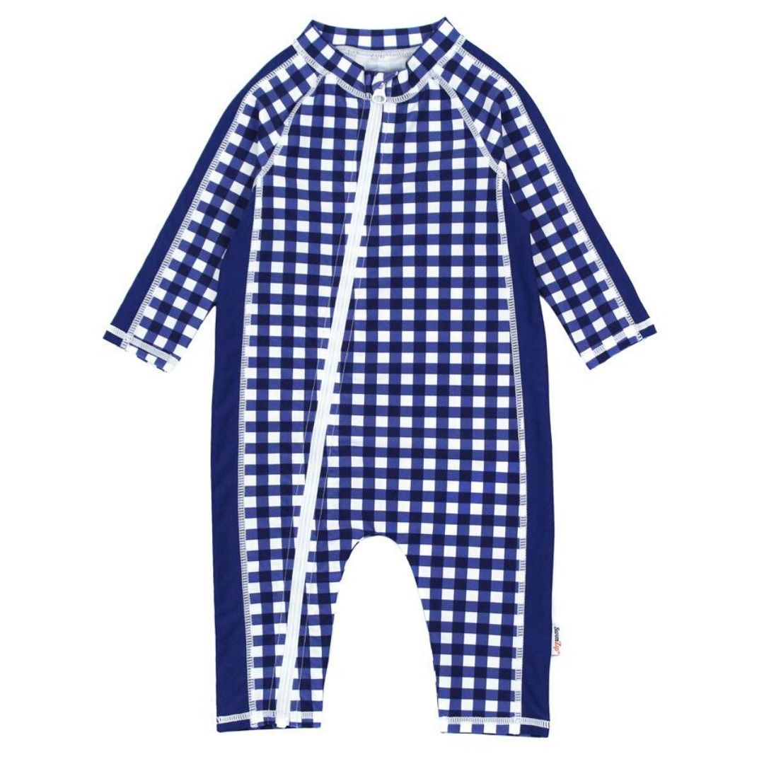 SwimZip - Navy Gingham Long Sleeve Romper Swim Suit Swimwear Swim Zip