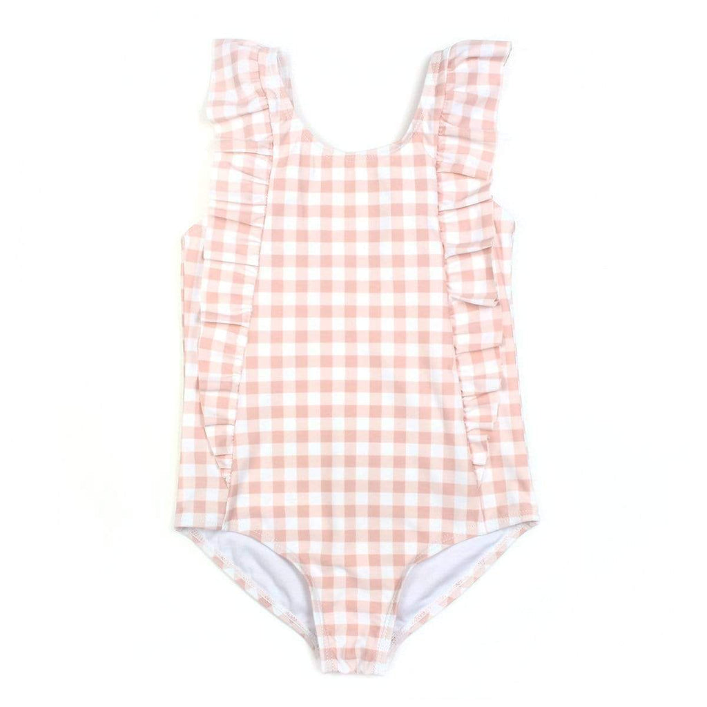 SwimZip - Peach Gingham Girls Ruffle One Piece Bathing Suit Swimwear Swim Zip