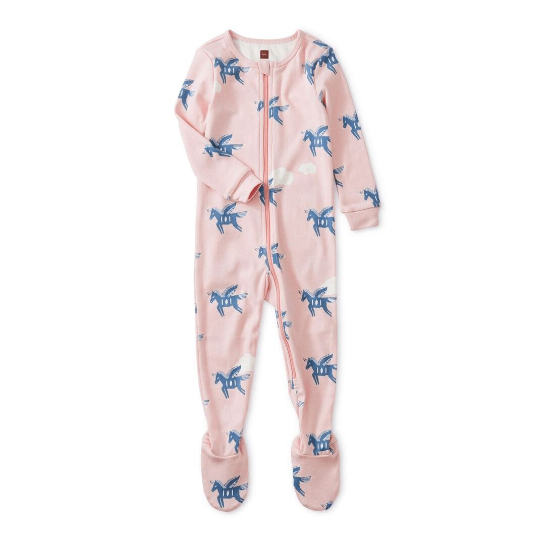 Tea Collection Lungta Winged Horse Patterned Footed Baby Pajamas Pajamas Tea Collection