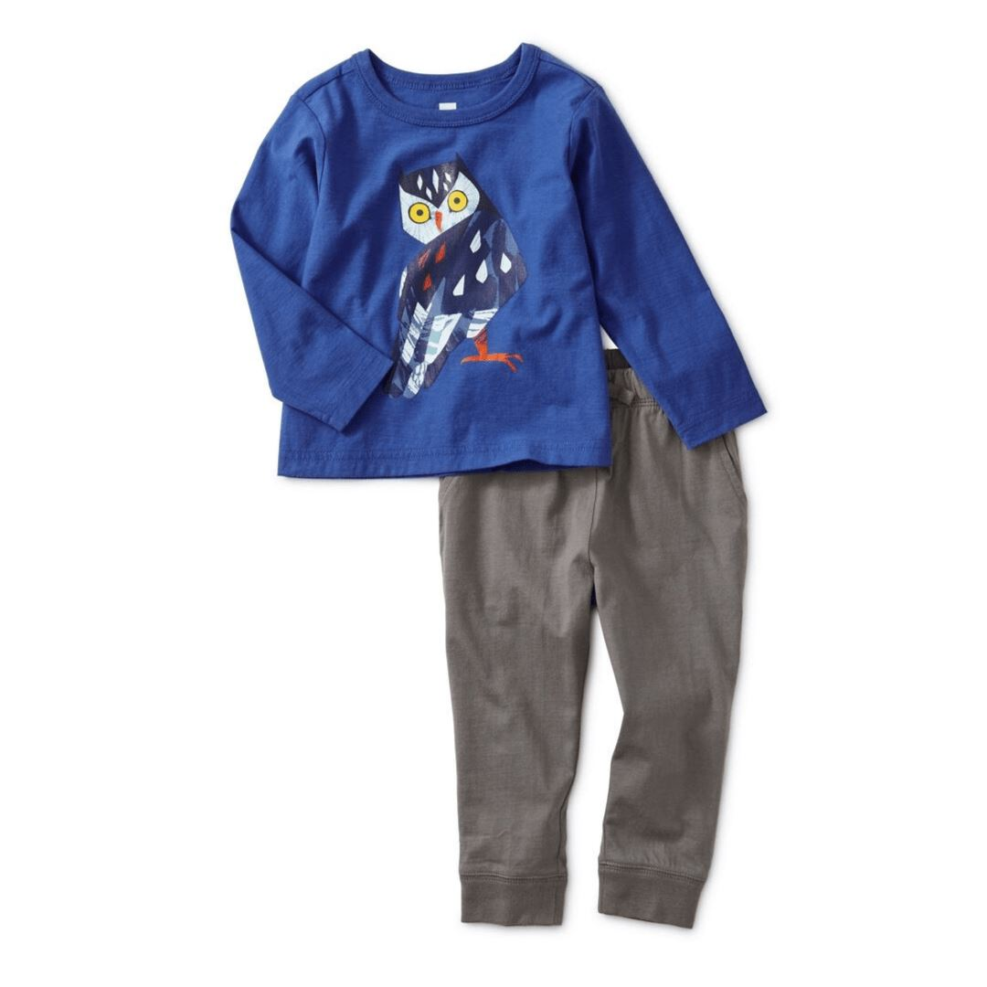 Tea Collection Marjorelle Blue Owl Graphic Baby Jogger Set Outfit Tea Collection