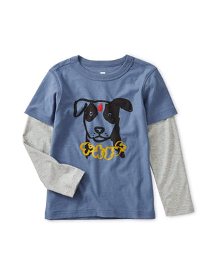 Tea Collection Nepal Dog Graphic Layered Tee Long Sleeve Shirts Tea Collection