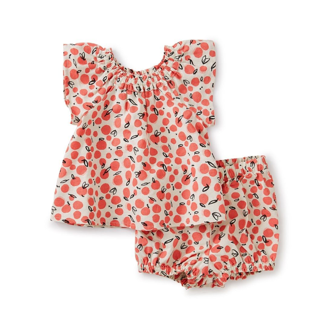 Tea Collection Oasis Fruit Ruffle Neck Baby Set Baby Outfit Tea Collection