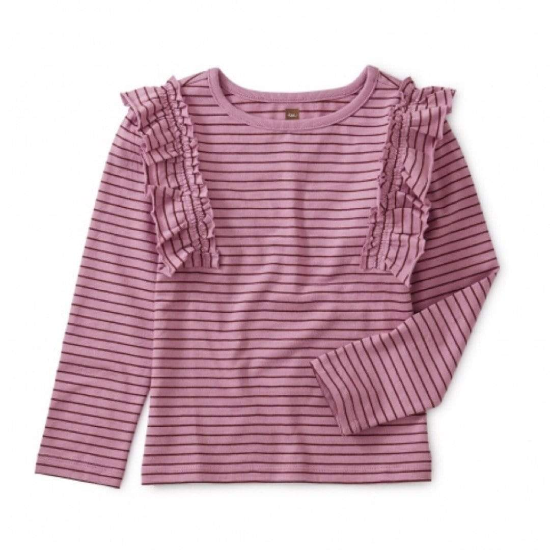Tea Collection Striped Delphinium Flutter Ruffle Top Long Sleeve Shirt Tea Collection