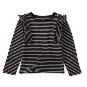 Tea Collection Striped Jet Black Flutter Ruffle Top Long Sleeve Shirt Tea Collection