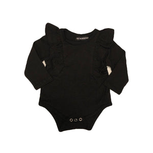 Tiny Black Long Sleeve Baby Girls Ruffle Onesie Onesie Tiny Trendsetter