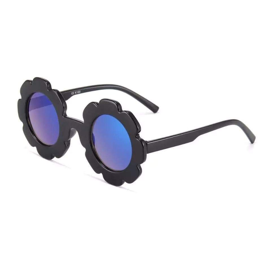 Tiny Black Polarized Floral Frame Sunglasses Sunglasses TIny Trendsetter