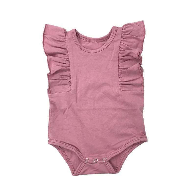 Tiny Dusty Rose Sleeveless Baby Girls Ruffle Onesie Onesie Tiny Trendsetter 0-3 Months
