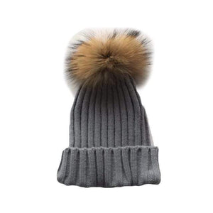 Tiny Grey Pom Pom Hat (Baby - Adult) Winter Hat Tiny Trendsetter