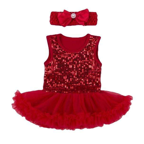 Tiny Holly Dress and Headband Set - Red (0-3 Months) Dress Tiny Trendsetter 0-3 Months