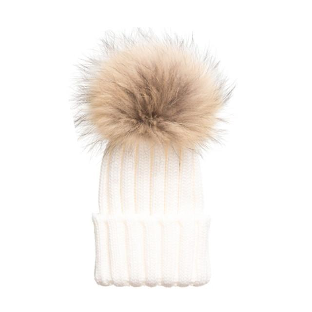 Tiny Ivory Pom Pom Hat (Baby - Adult) Winter Hat Tiny Trendsetter 4-10 Years