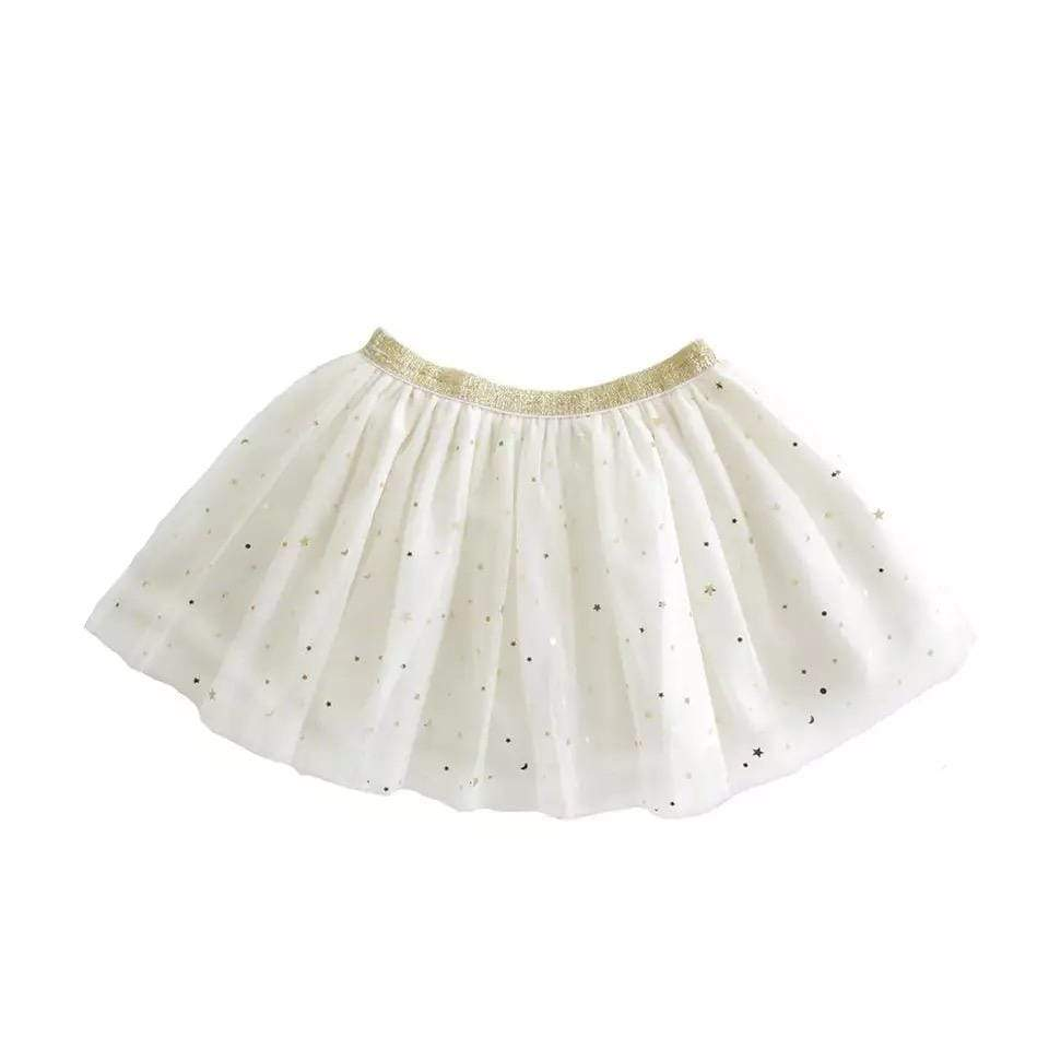 Tiny Ivory with Gold Stars Tutu Tutu Tiny Trendsetter 12-18 Months