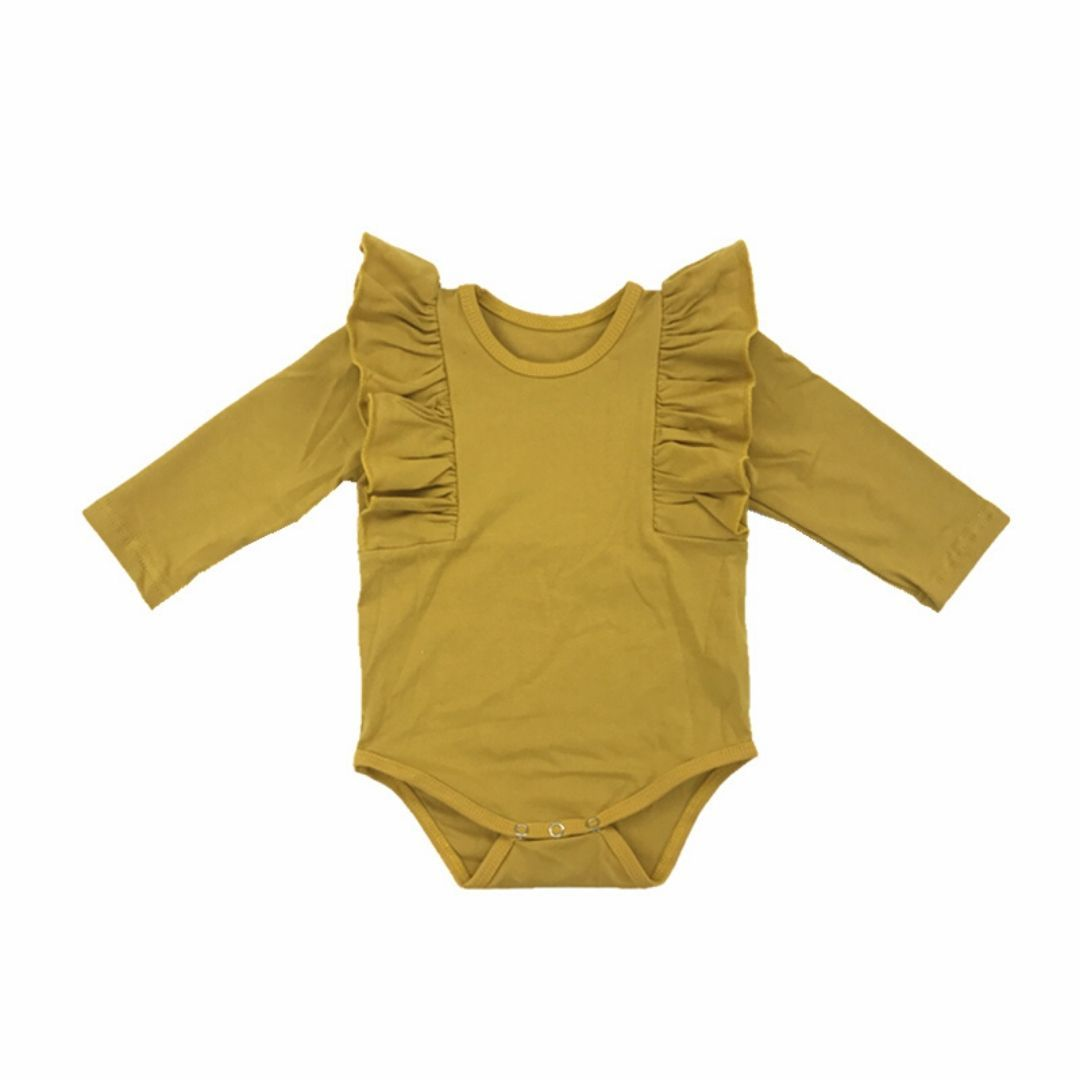 Tiny Mustard Long Sleeve Baby Girls Ruffle Onesie Onesie Tiny Trendsetter