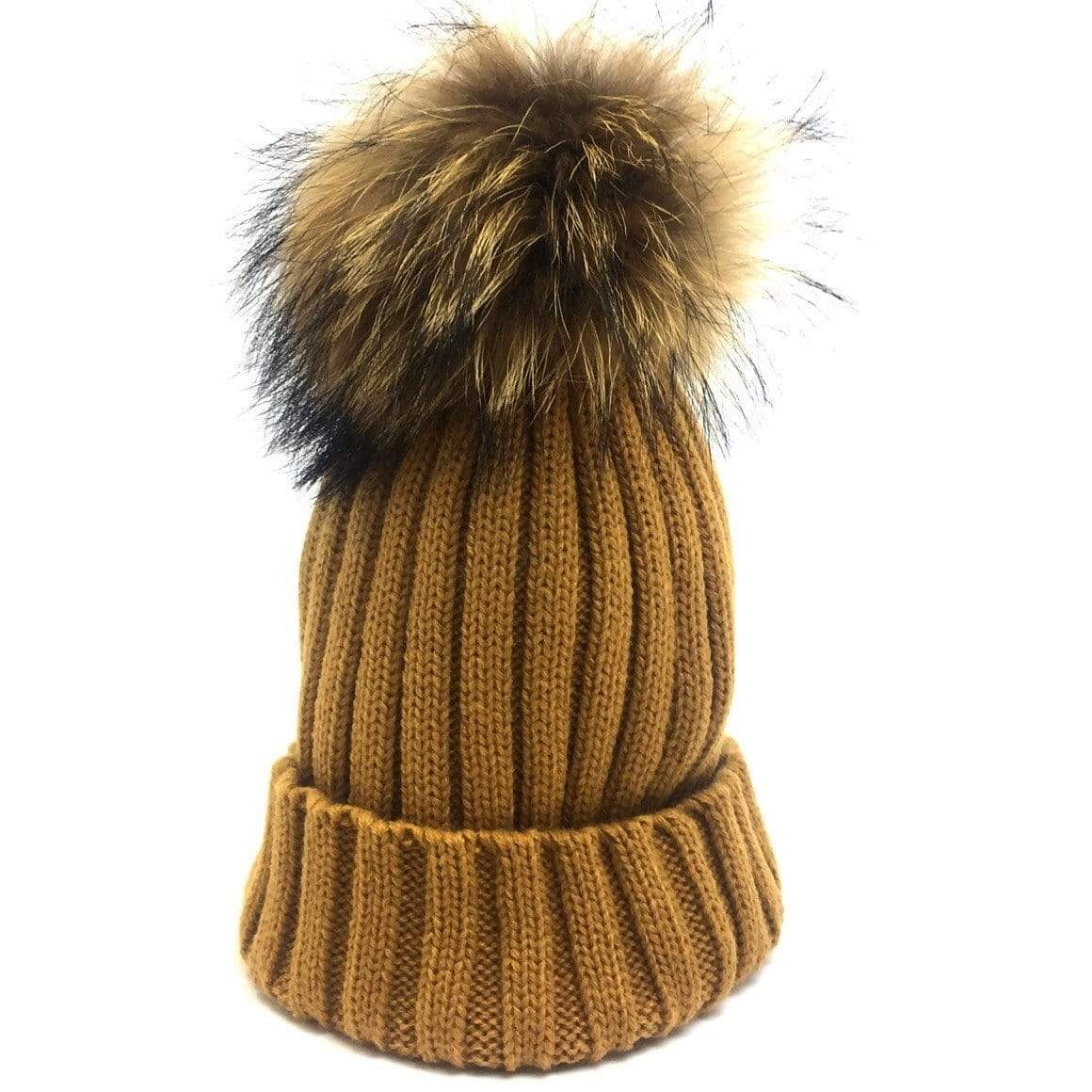 Tiny Mustard Pom Pom Hat (Baby - Adult) Winter Hat Tiny Trendsetter 0-3 Years