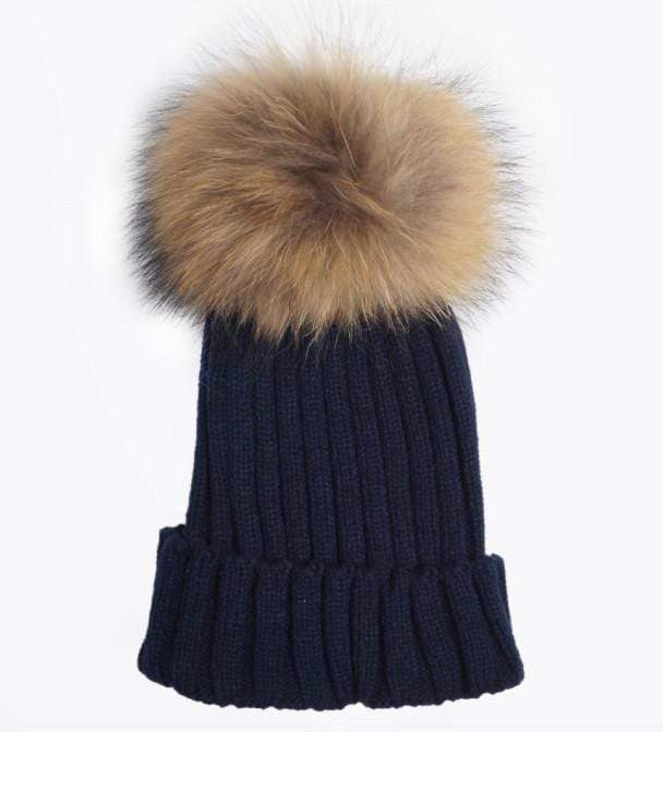 Tiny Navy Pom Pom Hat (Baby - Adult) Winter Hat Tiny Trendsetter 0-3 Years