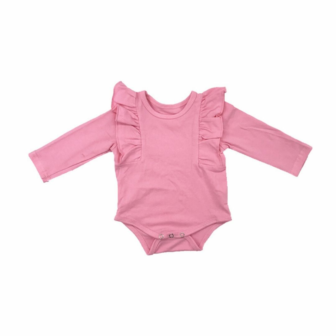 Tiny Pink Long Sleeve Baby Girls Ruffle Onesie Onesie Tiny Trendsetter
