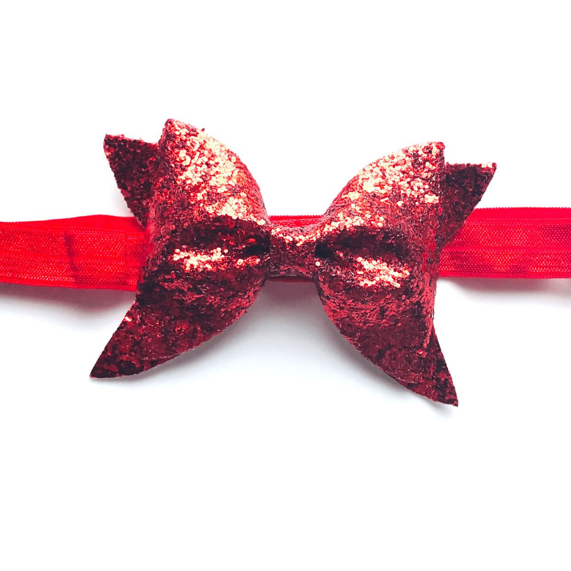 Tiny Red Glitter Bow Headband Headband Tiny Trendsetter One Size