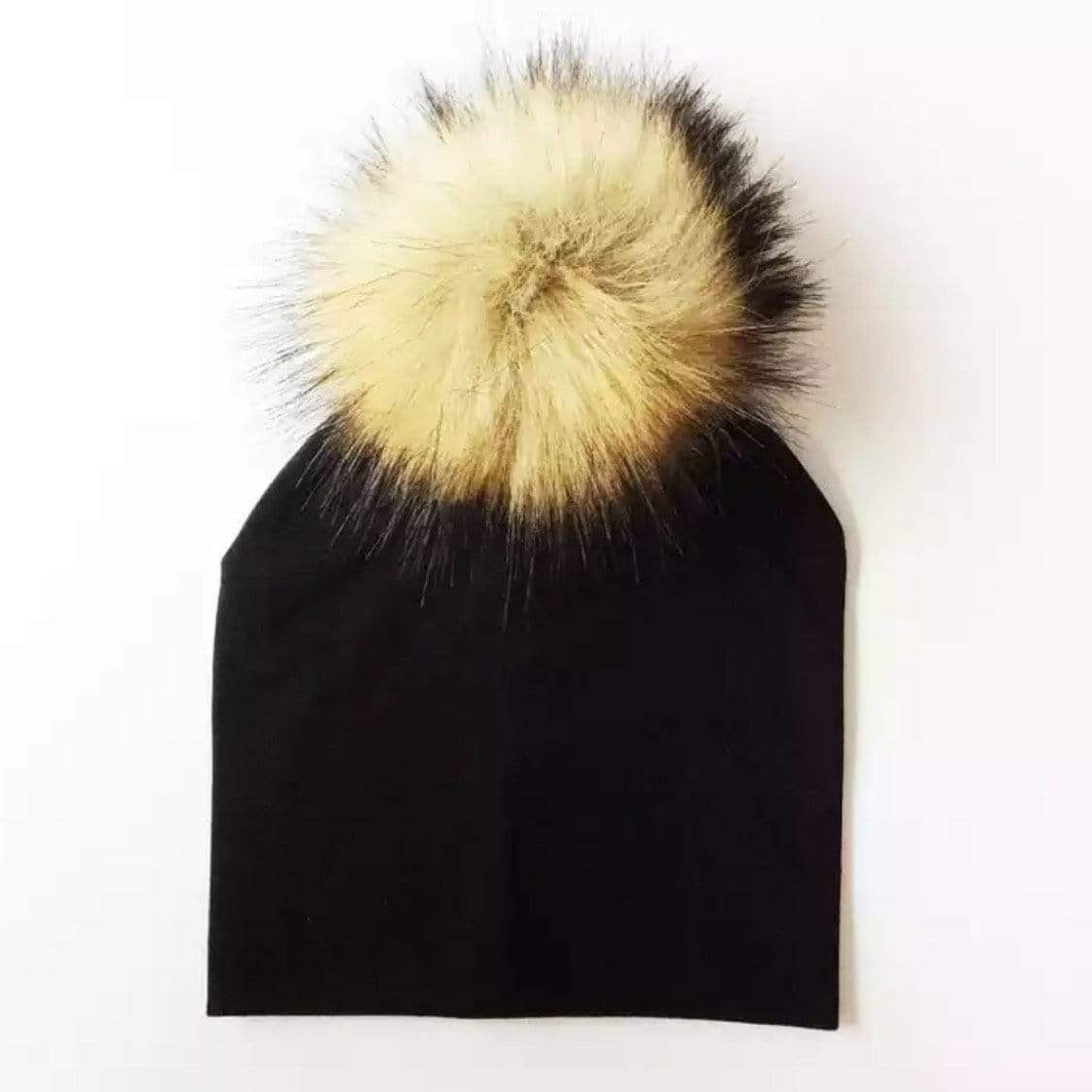 Tiny Trendsetter - Black with Brown Pom Pom Beanie Hat (Baby - Adult) Hats Tiny Trendsetter 1-4 years