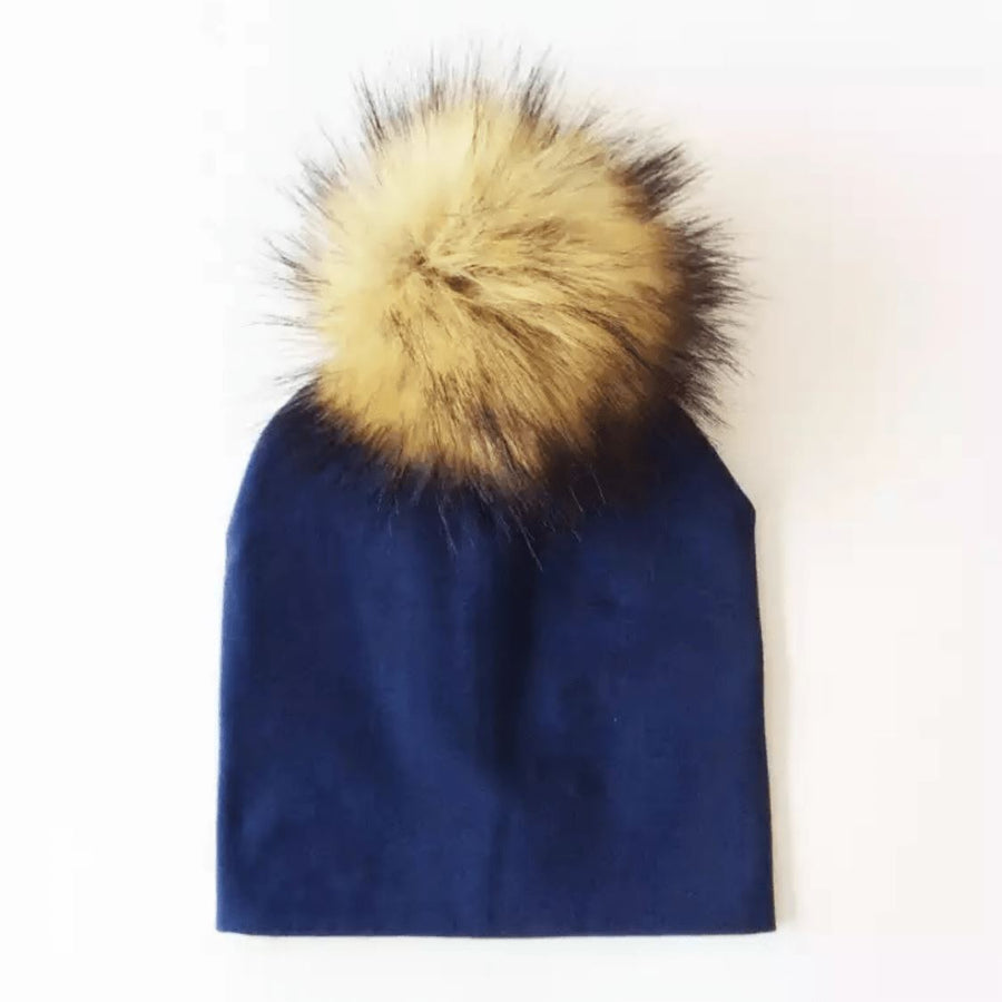 Tiny Trendsetter - Navy Pom Pom Beanie Hat (Baby - Adult) Hats Tiny Trendsetter 1-4 years