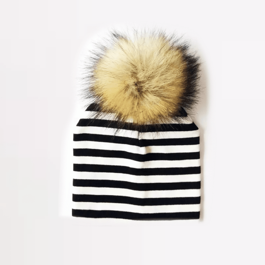 Tiny Trendsetter - White and Black Stripe Brown Pom Pom Beanie Hat (Baby - Adult) Hats Tiny Trendsetter 1-4 years