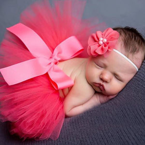 Tiny Tutu and Headband Set - Fuscia Tutu Tiny Trendsetter 0-6 Months