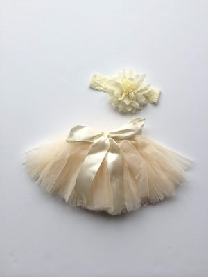 Tiny Tutu and Headband Set - Ivory Tutu Tiny Trendsetter 0-6 Months