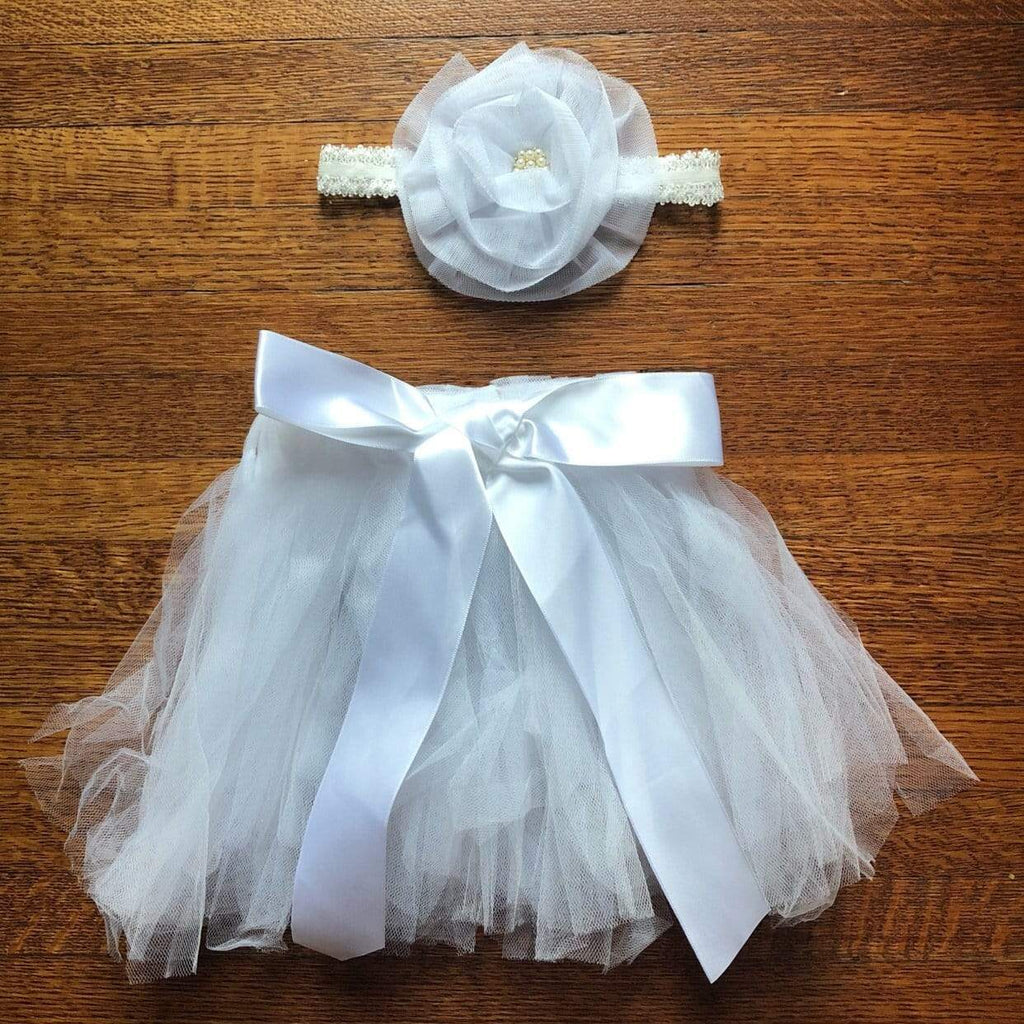 Tiny Tutu and Headband Set - White Tutu Tiny Trendsetter 0-6 Months