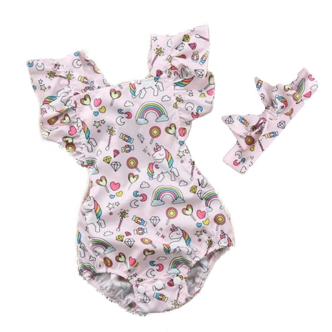 Tiny Unicorn Romper and Headband Set Romper Tiny Trendsetter 3-6 Months