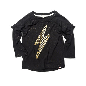 U1AMT - Appaman - Girl's Amelie Tee Lightening Check - Black Sparkle Long Sleeve Shirts Appaman 2 Years