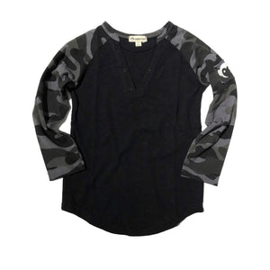 U1BAT - Appaman - Boy's Black Baseball Tee - Carbon Camo Long Sleeve Shirts Appaman 2 Years