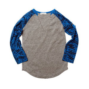U1BAT - Appaman - Boy's Grey Heather Baseball Tee - Mixed Tape Print Long Sleeve Shirts Appaman